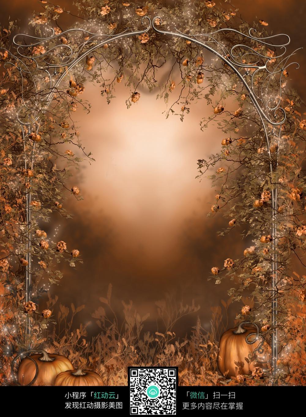 风_复古风万圣节主题数码背景画
