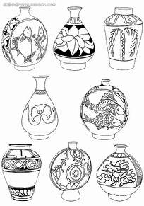 花瓶黑白装饰图案图片 花瓶黑白装饰图案设计素材 红动网