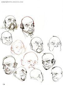 各种男人头像线描