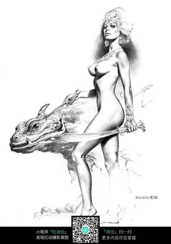 怪兽美女手绘线描画_人物卡通图片