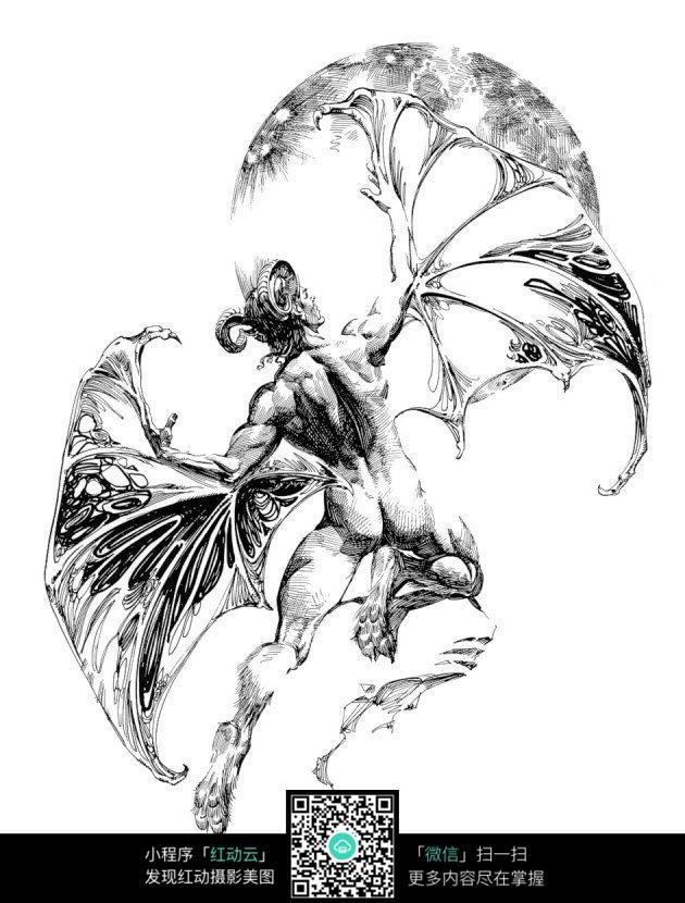 蝙蝠怪兽手绘线描图