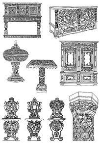 古典家具装饰花纹雕刻图案