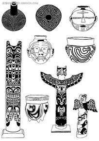 古典人像装饰陶瓷图案