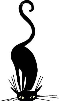 黑色猫咪剪影手绘矢量插画