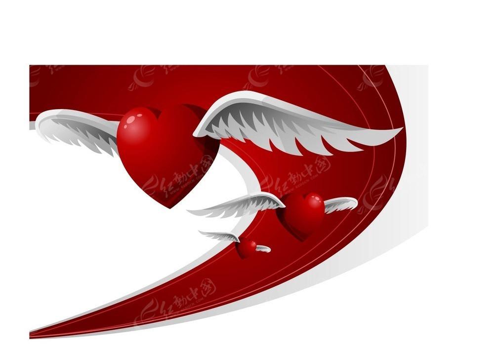 红色爱心翅膀背景素材