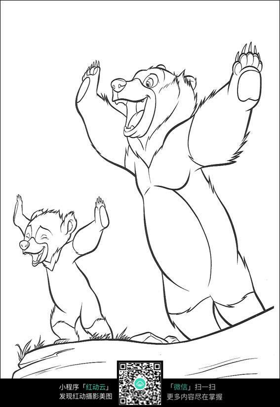 欢呼的熊卡通手绘线描画