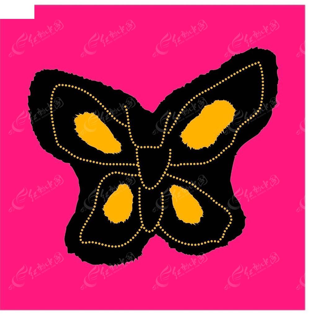 免费素材 矢量素材 花纹边框 底纹背景 简单蝴蝶中国色彩白描画  请您