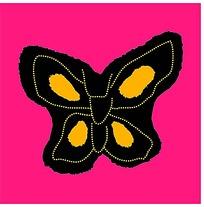 简单蝴蝶中国色彩白描画
