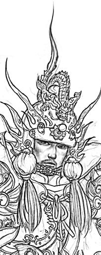 将军头像手绘线稿素材