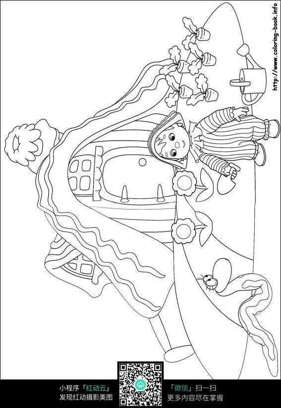 浇花的小女孩卡通手绘线稿素材