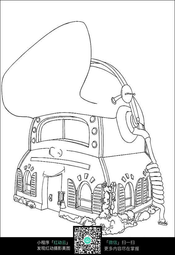 机器小房子手绘线描画