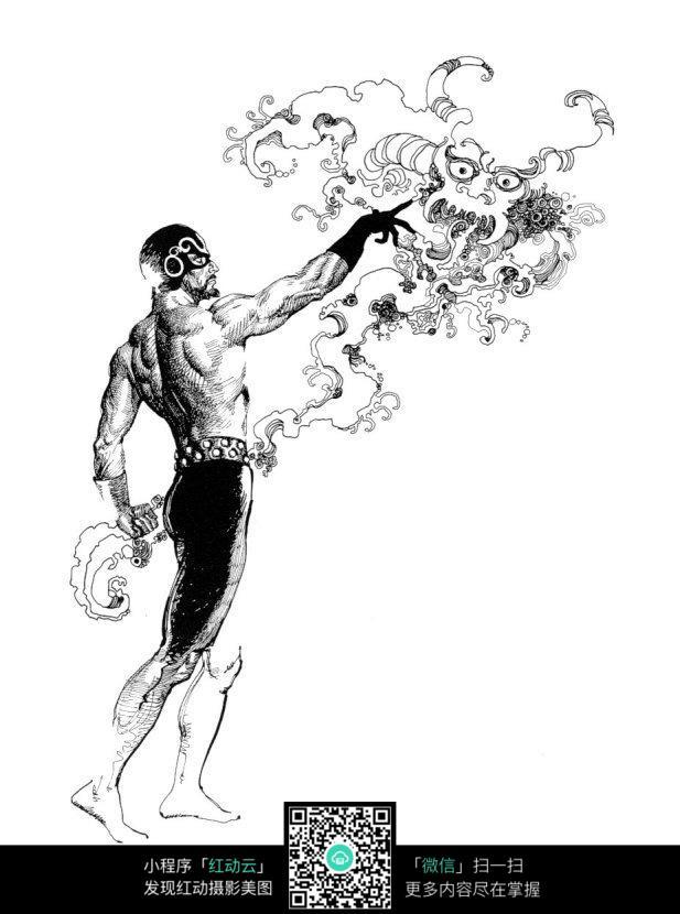 肌肉男龙手绘线描画