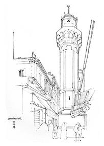 旧中国钟楼塔台线描图