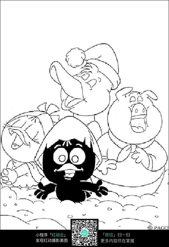 卡通小鸡小鸭小猪手绘线描画