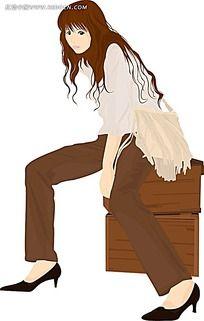 挎着白色背包的女性韩国时尚图片