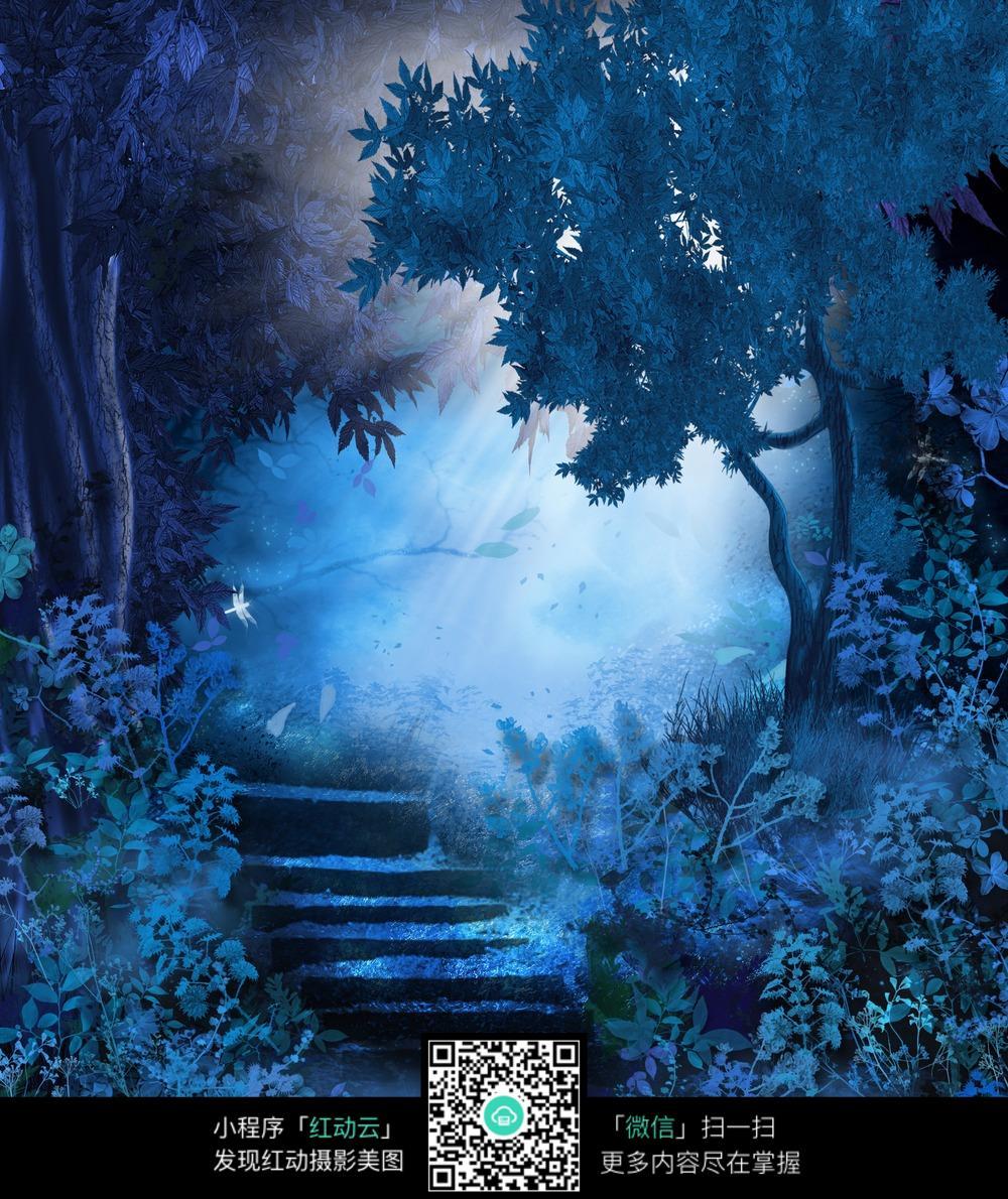 蓝色森林阳光数码背景画图片
