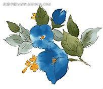 蓝色水墨梦幻花纹花朵psd素材