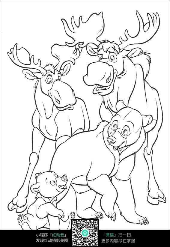 鹿和熊卡通手绘线描画