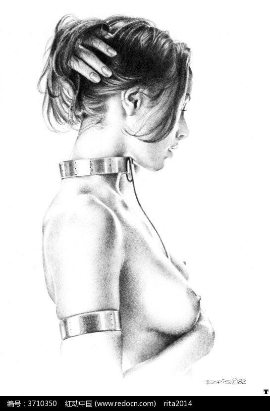 裸体美女半身像手绘线描画图片