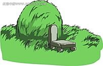 绿色墓碑插画
