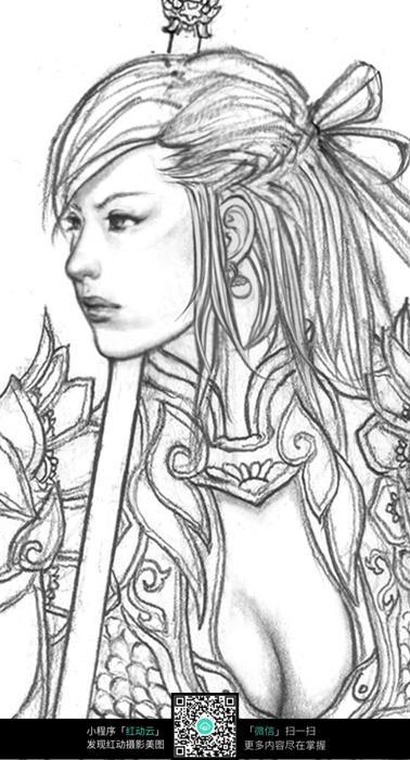 美少女战士手绘线稿素材_人物卡通图片