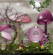 梦幻卡通蘑菇图片