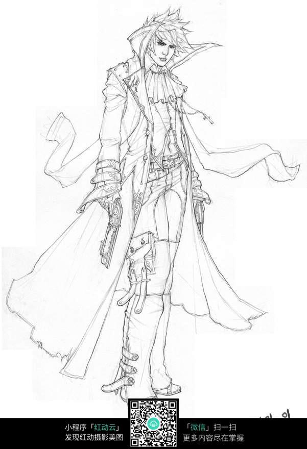 拿枪的美男战士手绘线稿素材图片