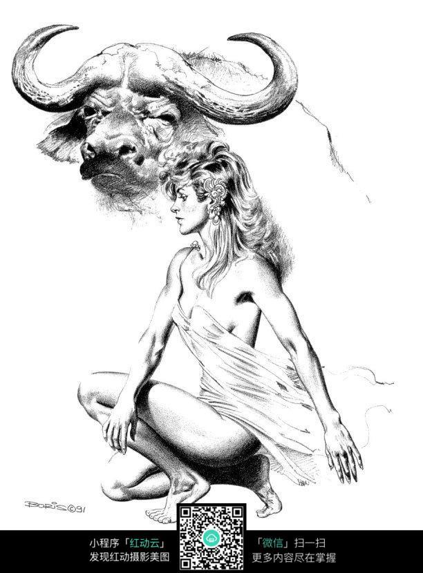 牛头美女手绘线描图