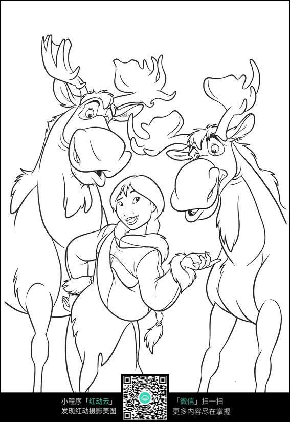女孩和鹿卡通手绘线描画