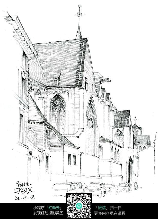 欧式房屋建筑素描图形图片图片