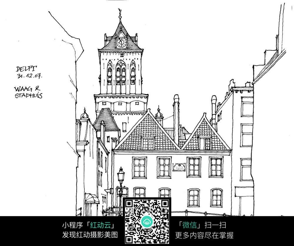 欧式 建筑 钟楼 城堡 场景图片