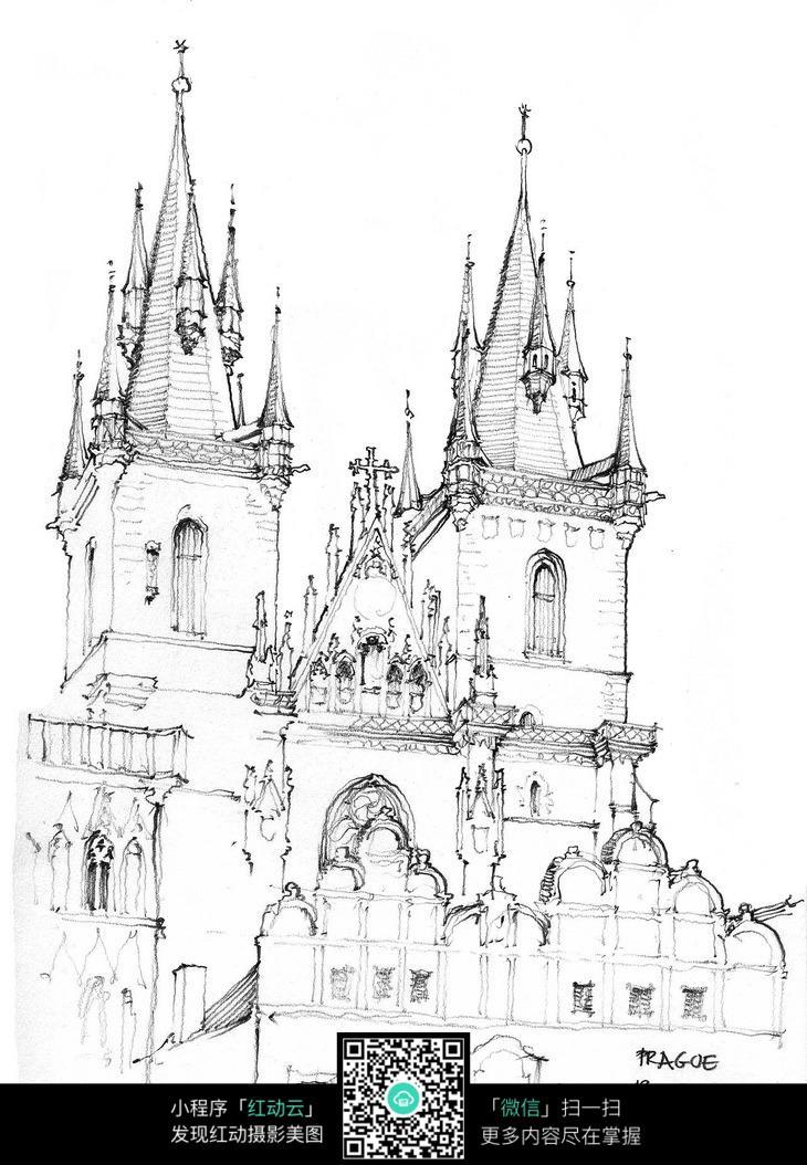 免费素材 图片素材 漫画插画 活动场景 欧式教堂建筑线描图  请您分享图片