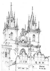 欧式教堂建筑线描图