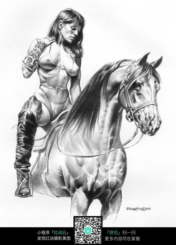 骑马的美女手绘线描画图片