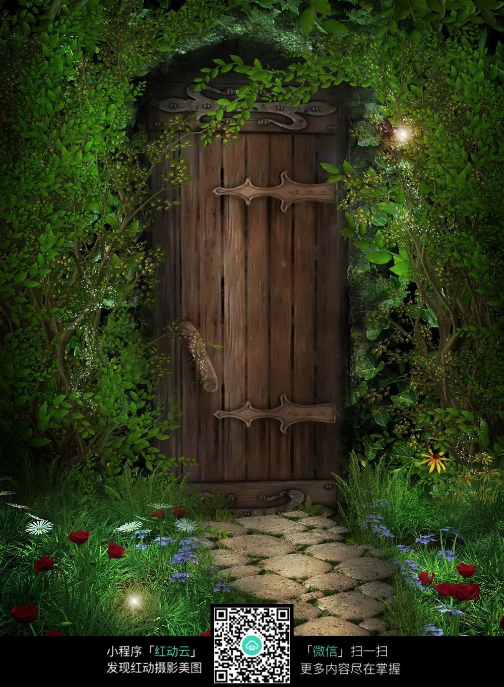 森林小木屋数码背景画图片图片