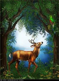 森林中的小鹿与猫头鹰