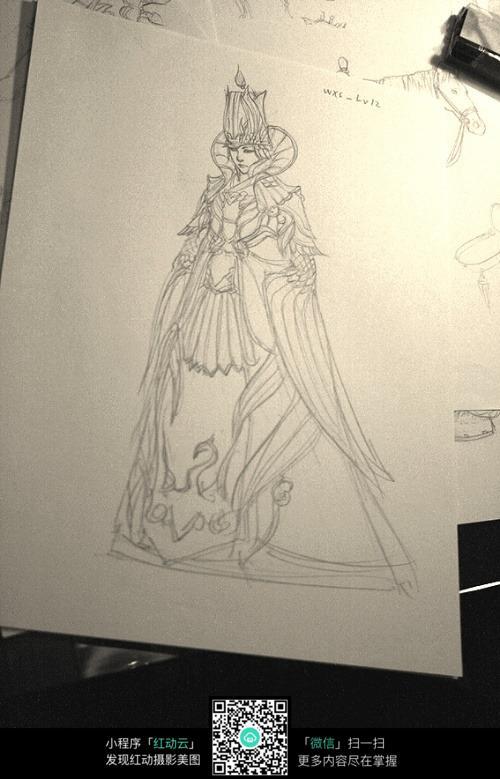盛装王妃手绘线稿素材图片
