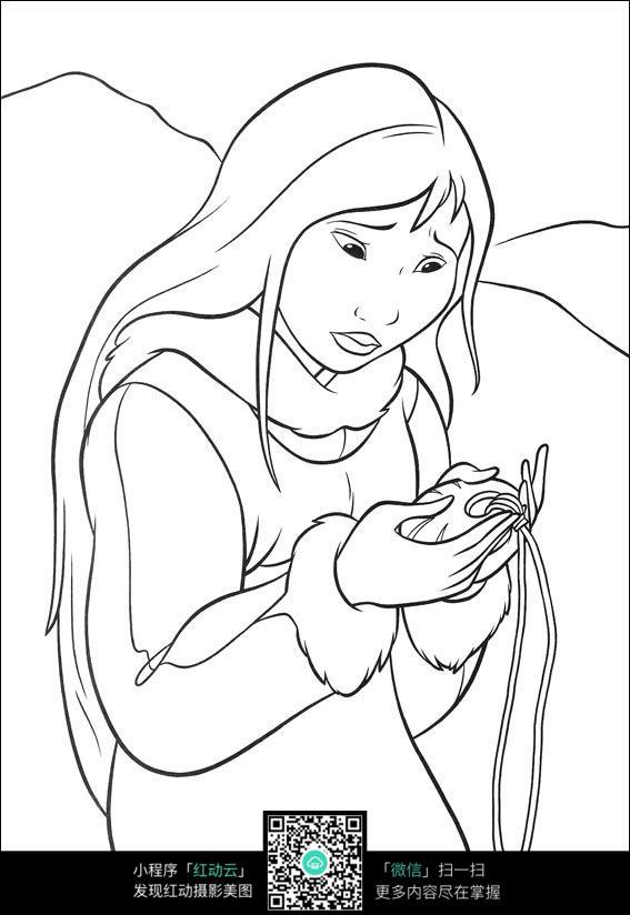 拾到玉佩的女孩卡通手绘线描画
