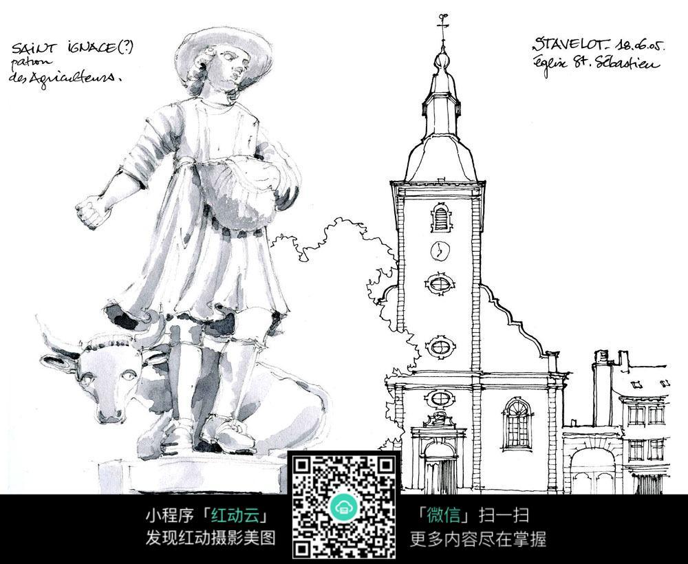 手绘欧式建筑线描画