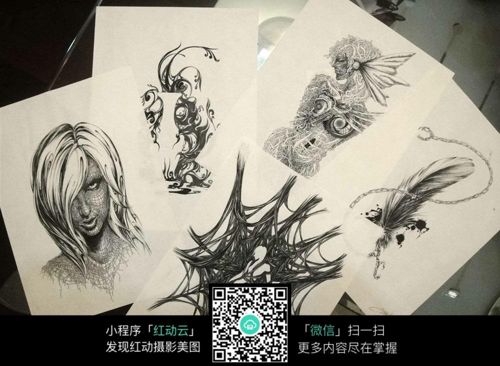 手绘人物创意画图片