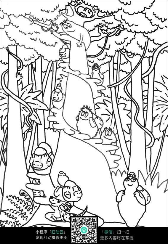 树林动物卡通手绘线描图