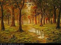树林小溪数码背景画