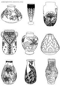陶瓷瓶罐花纹雕刻图案图片素材
