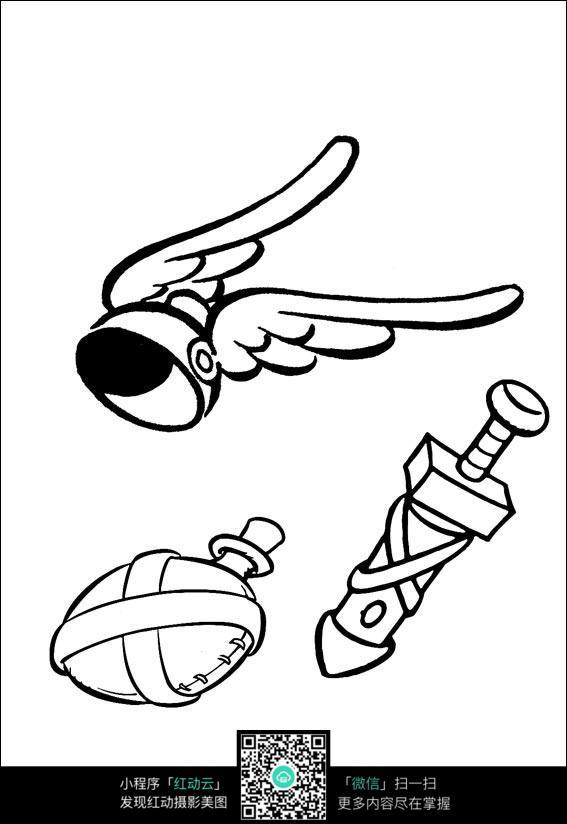天使的翅膀水壶剑手绘线稿素材