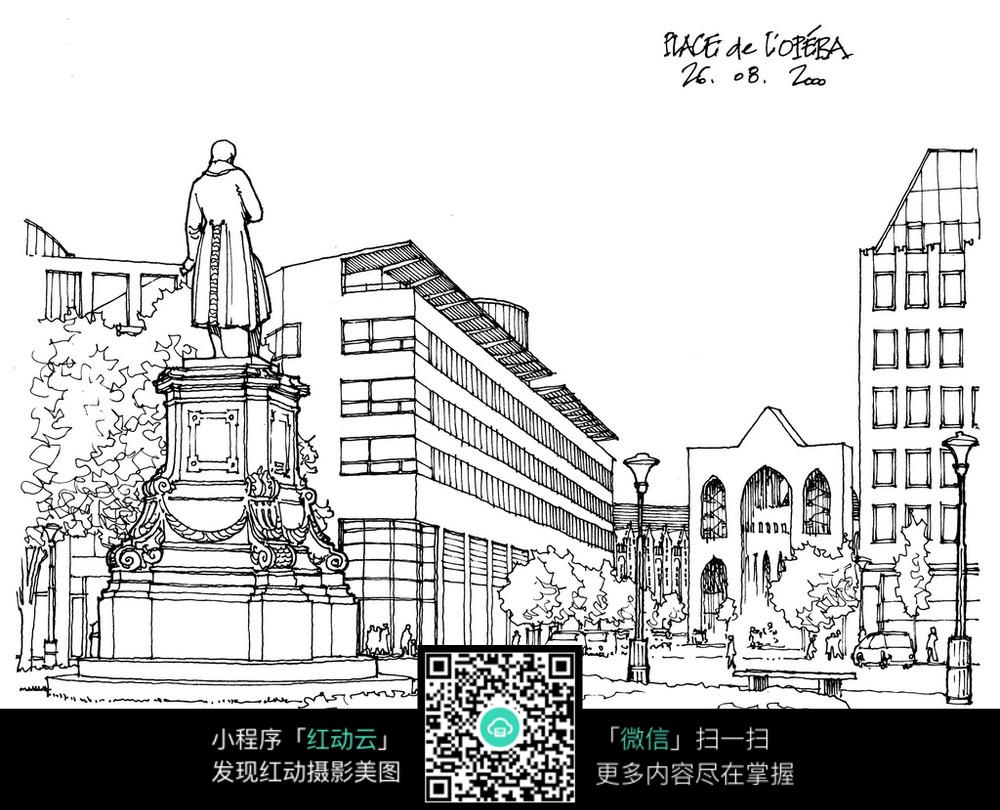 免费素材 图片素材 漫画插画 活动场景 现代化校园雕塑广场线稿  请图片