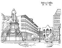 现代化校园雕塑广场线稿