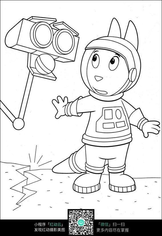 小狗机器人卡通手绘线描图