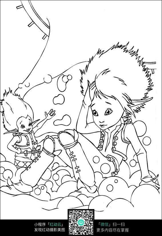 小美女手绘线稿素材