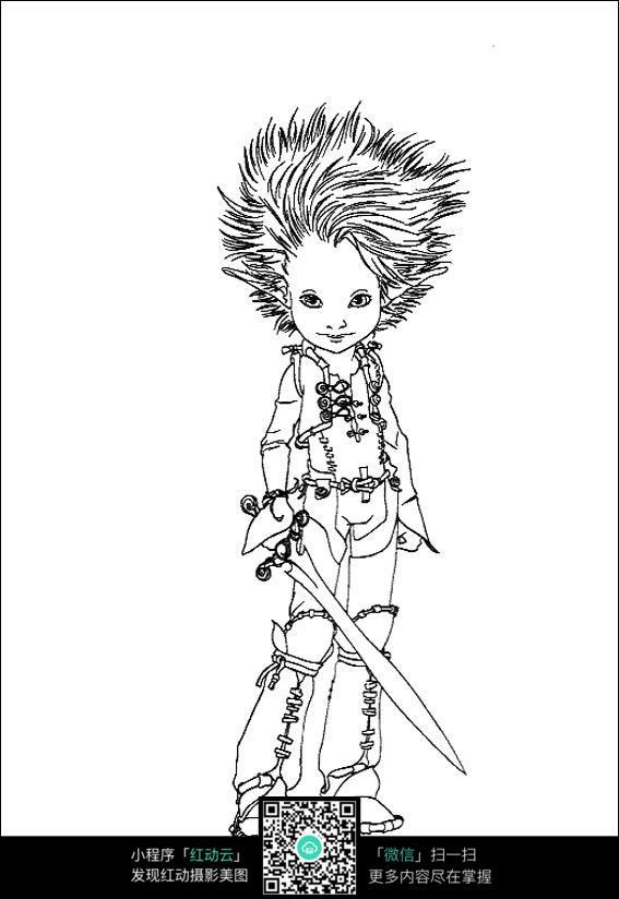 小美少女战士手绘线稿素材