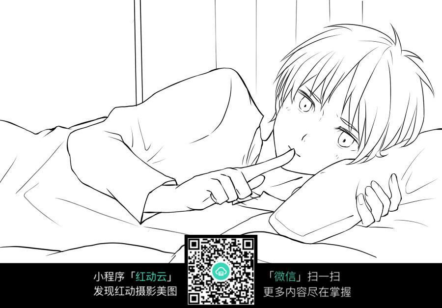 免费素材 图片素材 漫画插画 人物卡通 在床上嘘声的男生插画手稿